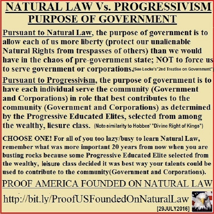 NaturalLawVsProgressivismPurposeOfGovernment07292016
